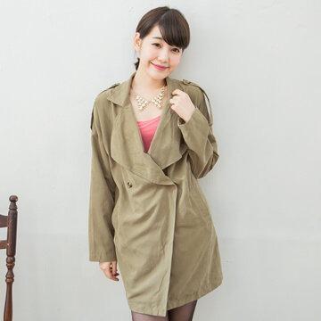 §獨具衣格§G6028素色大翻領肩膀兩釦裝飾雙口袋長版外套(4907湘)-大尺碼