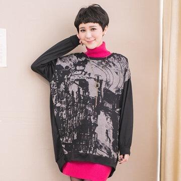 §獨具衣格§日本大阪直送G6367衣身渲染水墨畫前短後長棉質上衣-大尺碼