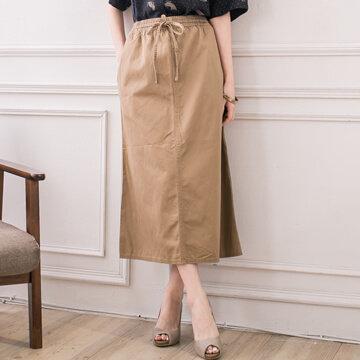§獨具衣格§日本大阪直送G6787素雅腰鬆緊帶綁帶造型傘狀裙