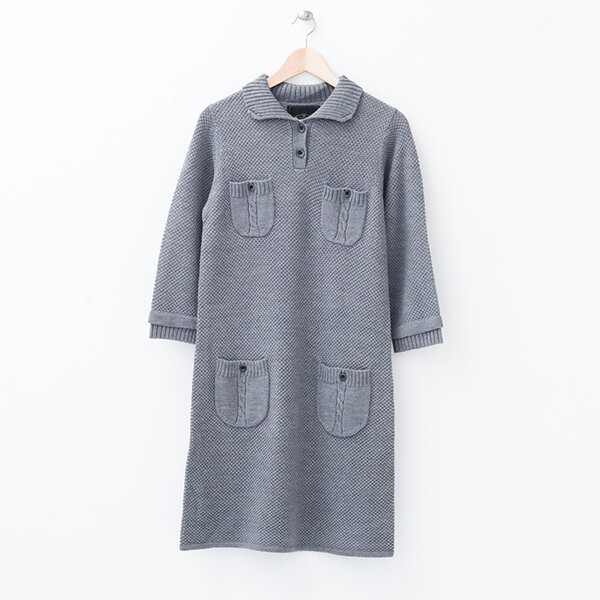 §獨具衣格§ 日本直送 2094 羊毛添加 麻花口袋針織洋裝樣本