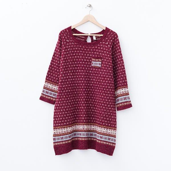 §獨具衣格§ 日本直送 2060 羊毛 民俗風針織洋裝樣本