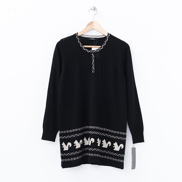 §獨具衣格§ 日本直送 2067 可愛松鼠災添加毛針織長版上衣樣本