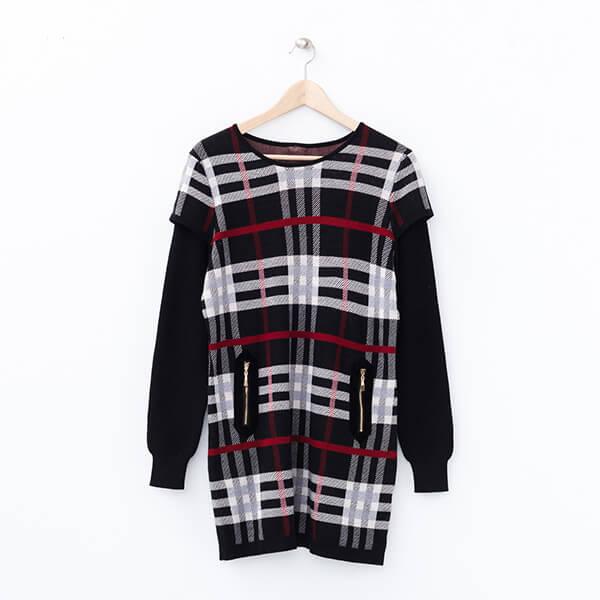 §獨具衣格§ 2068 貂毛+羊毛 格紋拉鍊裝是針織洋裝樣本
