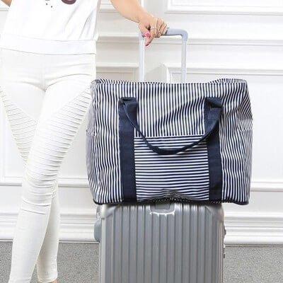 §獨具衣格§ H240 海軍風條紋旅行收納包 旅行袋 可放置行李箱上