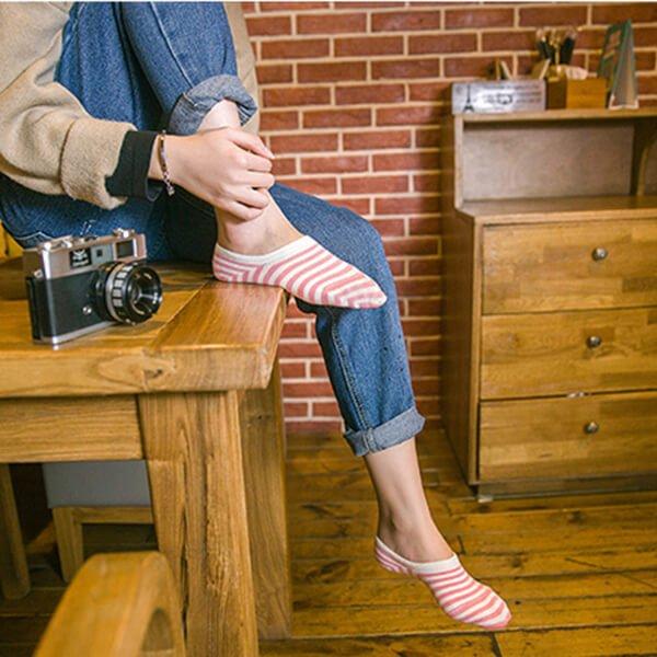 §獨具衣格§ H276 純棉 淺口造型襪子含膠條(一組五入)