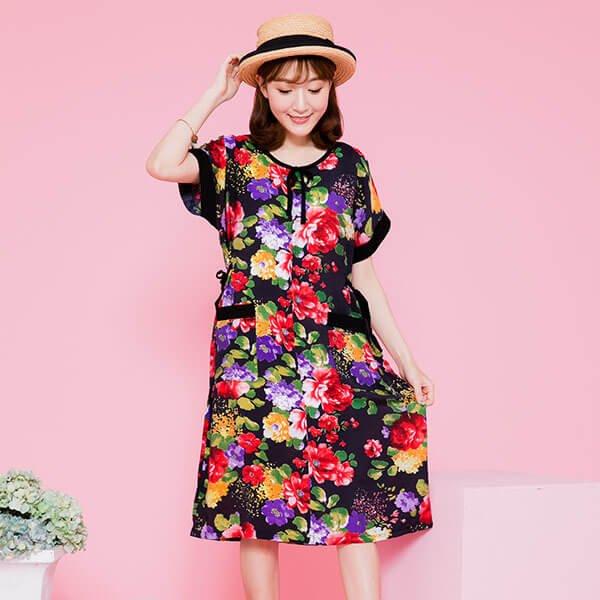 §獨具衣格§ 日本直送 G8913 復古花朵印花洋裝-中大尺碼