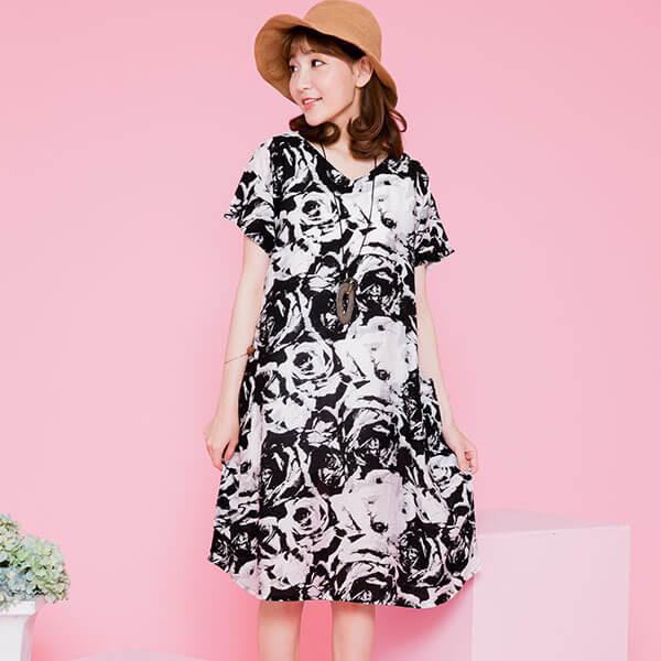 §獨具衣格§ 日本直送 G8918 顯瘦V領多種花色印花洋裝-中大尺碼