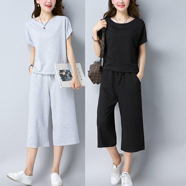 §獨具衣格§ G9334 棉質 舒適運動休閒套裝(上衣+褲子)-大尺碼