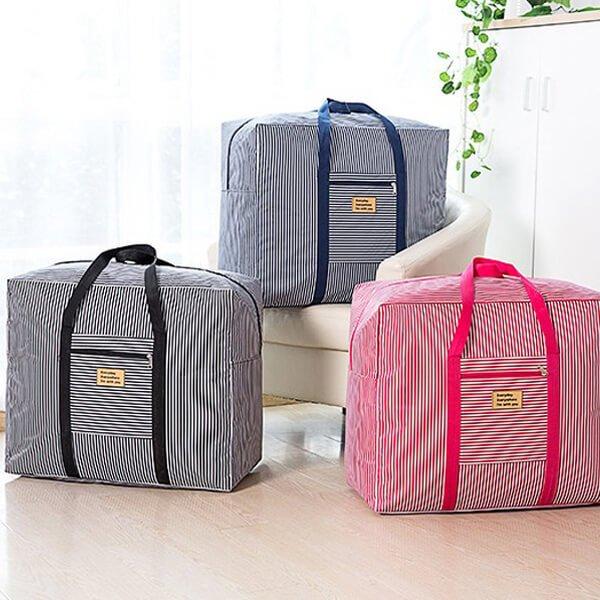 §獨具衣格§ H334 橫條紋防潑水行李、棉被收納手提包批貨袋
