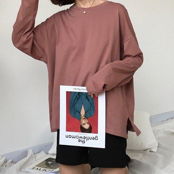 §獨具衣格§ G9581 百搭素色寬鬆棉T-大尺碼