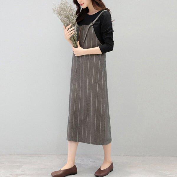 §獨具衣格§ G9707 素色棉T+條紋吊帶裙兩件式套裝