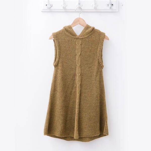 §獨具衣格§ 日本直送 2091 素色連帽針織背心毛衣樣本