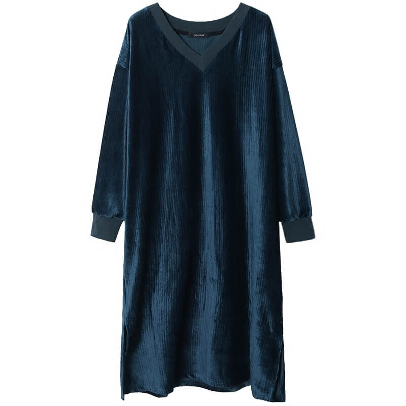 §獨具衣格§ G9916 絲絨坑條素色洋裝-大尺碼