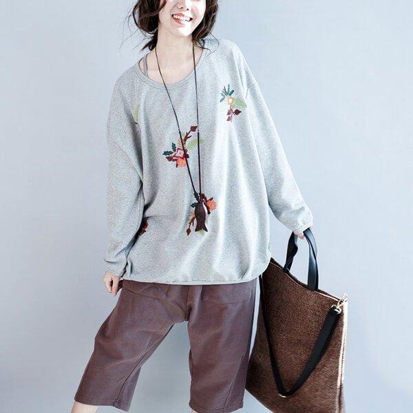 §獨具衣格§ G9986 棉質 刺繡花寬鬆感上衣-大尺碼
