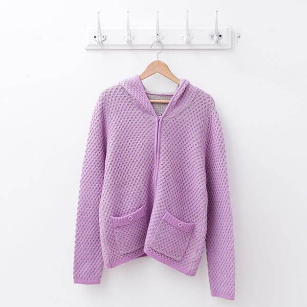 §獨具衣格§ 日本直送 羊毛 暖紫色兩件式套裝(高領毛衣搭配拉鍊外套)樣本