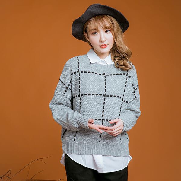 §獨具衣格§ 日本直送 2125 立體格紋毛衣樣本-大尺碼