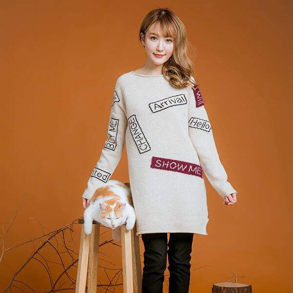 §獨具衣格§ ㊣韓 2129 羊毛 針織仿貼布洋裝樣本
