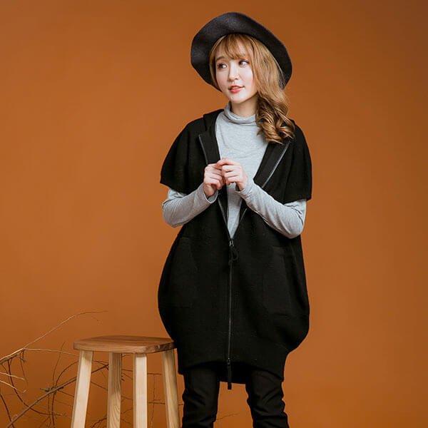 §獨具衣格§ 日本直送 2132 羊毛 連帽拉鏈長板針織背心樣本