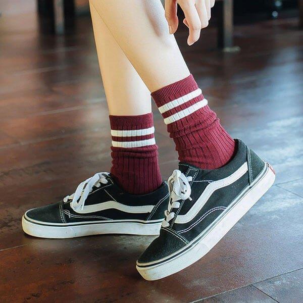 §獨具衣格§ H434 韓系女孩配條高筒襪(六雙入)
