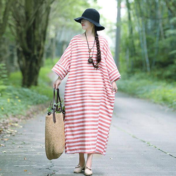 §獨具衣格§ J1241 棉麻 寬鬆版配條洋裝-大尺碼
