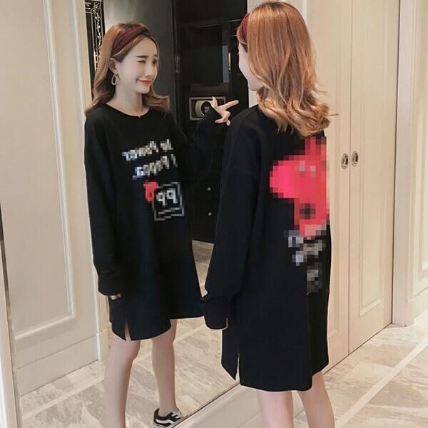 §獨具衣格§ J1246 純棉 卡通印花洋裝-中大尺碼