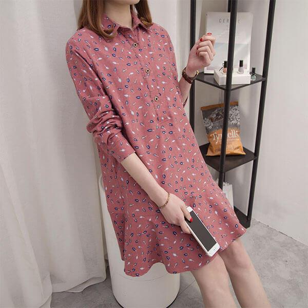 §獨具衣格§ J1260 棉麻 葉子印花襯衫領洋裝-多尺碼
