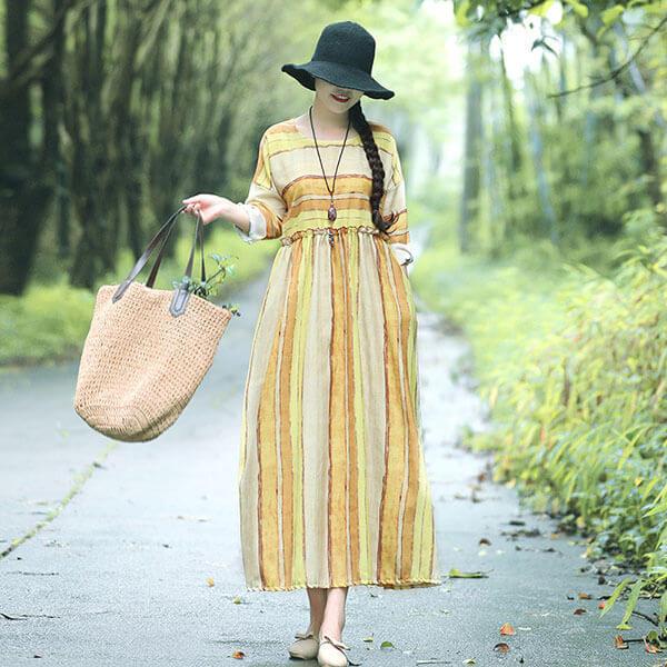 §獨具衣格§ J1281 棉麻 檸檬黃配條洋裝-中大尺碼