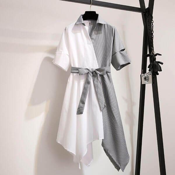 §獨具衣格§ J1301 設計感襯衫V領洋裝-中大尺碼