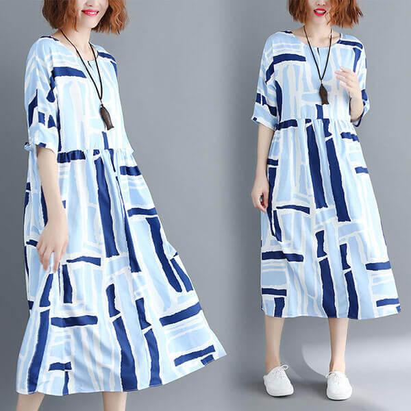 §獨具衣格§ J1302 清爽藍色系方塊洋裝-中大尺碼