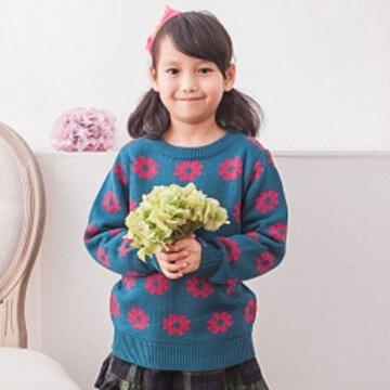 §獨具衣格§○台灣製○G3391小孩版可愛雞蛋花圖案針織上衣(2091)
