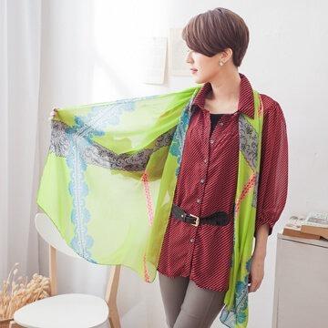 §獨具衣格§G3895華麗圖騰線條圖案絲巾