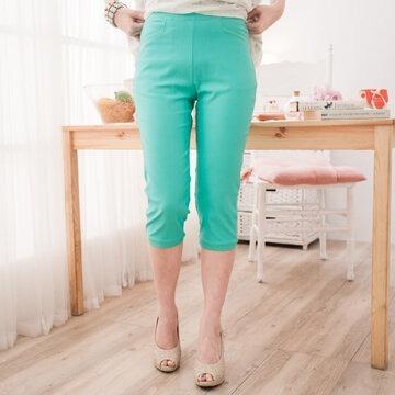 七分褲-§獨具衣格§○台灣製○G5509單一色點點縮褲管造型腰鬆緊帶褲(1665)